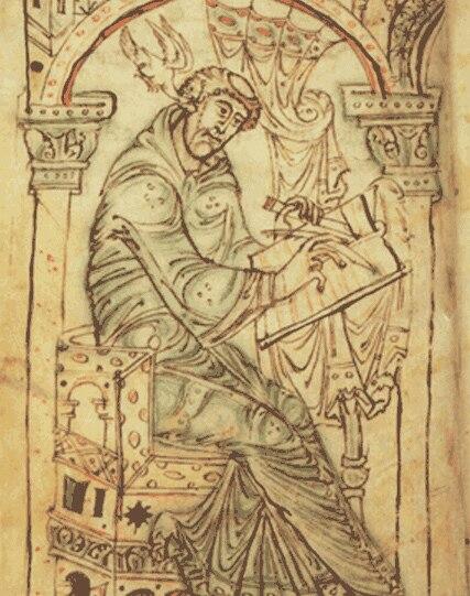 Man writing Corpus Christi College Cambridge MS. 389