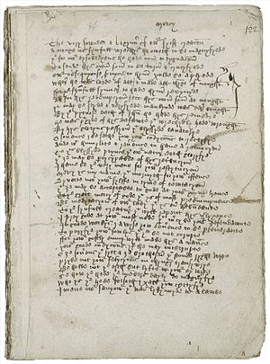 Mankind (play) - A page from the Macro Manuscript, the only known source for Mankind