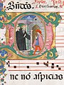 Manuscript Leaf with Saint Benedict Resuscitating a Boy in an Initial D, from an Antiphonary MET sf96-32-11d1.jpg