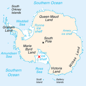 Ross Ice Shelf - Map of Antarctica with the Ross ice shelf marked with a red X.