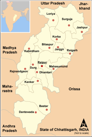 Dandakaranya - /Bastar division covers bottom three districts (named Kanker, Bastar and Dantewada) in this old 2007 map of Chhattisgarh, since then these 3 districts have been divided into more districts