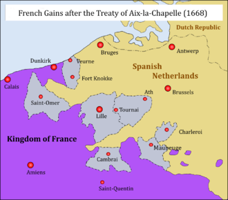 War of Devolution - Louis XIV's gains before the treaty of Aix-la-Chapelle (Aachen): Cambrai, Aire and Saint-Omer as well as the Franche-Comté were returned, the other gains remained under Louis XIV's rule