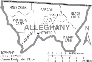 Alleghany County, North Carolina - Map of Alleghany County, North Carolina With Municipal and Township Labels