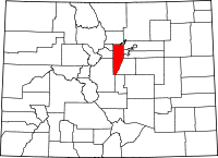 Map of Colorado highlighting Jefferson County