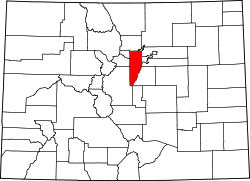 Map of Colorado highlighting Jefferson County.svg