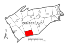 Map of Cumberland County, Pennsylvania highlighting Cooke Township