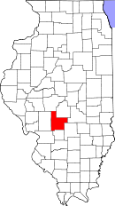 Map of Illinois highlighting Montgomery County