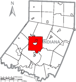 Map of Indiana County, Pennsylvania highlighting White Township
