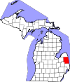 State map highlighting Sanilac County