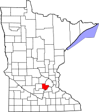 Map of Minnesota highlighting Carver County