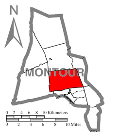 Map of Montour County, Pennsylvania Highlighting Valley Township