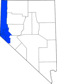 The counties most commonly associated with Western Nevada with Churchill County not shown in blue