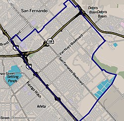 Boundaries of Pacoima as drawn by the Los Angeles Times