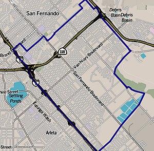 Pacoima, Los Angeles - Image: Map of Pacoima neighborhood, Los Angeles, California