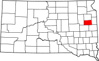 Locatie van Hamlin County in South Dakota
