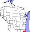 State map highlighting Kenosha County