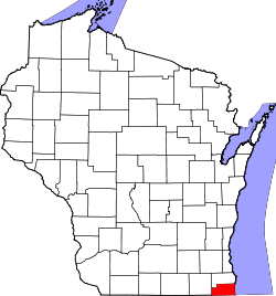 map of Wisconsin highlighting Kenosha County