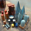 Maria montessori per soc. falegnami gonzaga, scatola dei solidi geometrici, cilindri colorati, cilindri dei rumori, 1907.jpg