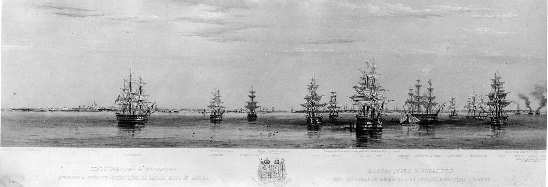 Marinmotiv-Franskengelsk eskader vid Sveaborg 1854 - Исторический музей - O 08128.jpeg