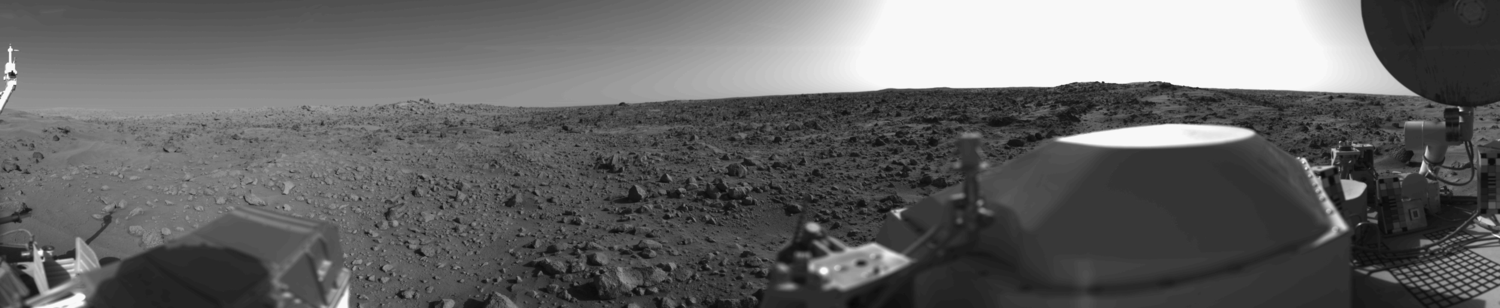 First panoramic view by Viking 1 from the surface of Mars.