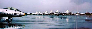 Bien Hoa Air Base - Martin B-57B bombers at Bien Hoa AB South Vietnam August 1964. Photo shows the aircraft shortly after their arrival, in natural aluminum and unpainted. Aircraft also show their In-squadron identification letters