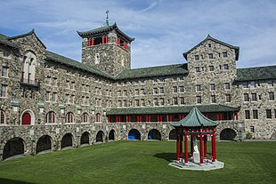 The Asian-inspired fieldstone seminary at Maryknoll, a hill on the outskirts of Ossining, N.Y.