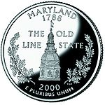 The reverse side of the Maryland quarter shows the dome of the State House in Annapolis.