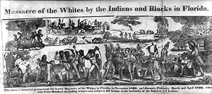 Black Seminoles - Massacre of the Whites by the Indians and Blacks in Florida, engraving by D.F. Blanchard for an 1836 account of the Dade Massacre at the outset of the Second Seminole War (1835–42).