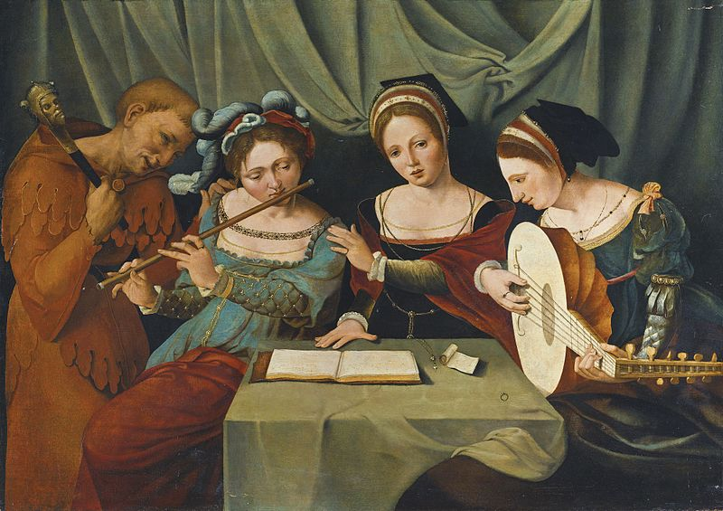 File:Master of the Female Half-lengths, Three Young Women Making Music with a Jester.jpg