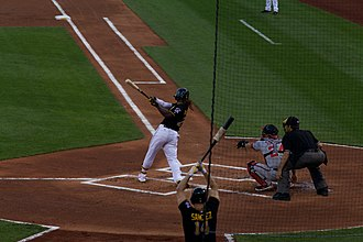 2013 Pittsburgh Pirates season - 2013 NL MVP Andrew McCutchen bats against the Nationals on May 3.