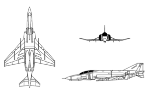 Orthographically projected diagram of the F-4E/F Phantom II.
