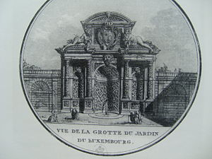 Medici Fountain - The Medici Fountain as it appeared in about 1820, after the modifications made by Jean Chalgrin, architect of the Arc de Triomphe. (Bibliothèque Nationale de Paris)