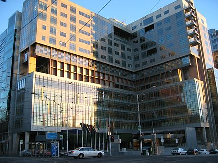 In Melbourne, the Federal Courts are housed in the Commonwealth Law Courts Building on the corner of La Trobe Street and William Street. Melbourne Federal Court.JPG
