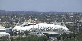 Melbourne Rectangular Stadium from city.JPG