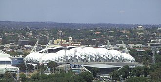 Melbourne Rectangular Stadium - Panoramic view of the AAMI Park viewed from a city building.