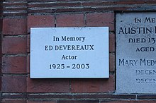 Memorial plaque to Ed Devereaux, Golders Green Crematorium.JPG