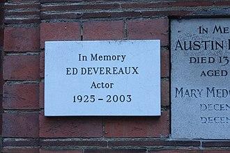Ed Devereaux - Memorial plaque to Ed Devereaux, Golders Green Crematorium