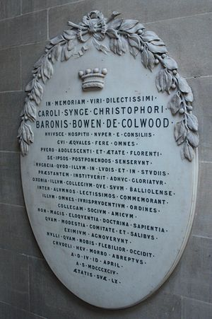 Charles Bowen, Baron Bowen - Memorial to Baron Bowen, Lincoln's Inn Chapel, London