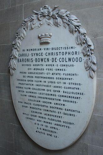 Charles Bowen, Baron Bowen - Memorial to Baron Bowen, Lincoln's Inn Chapel, London