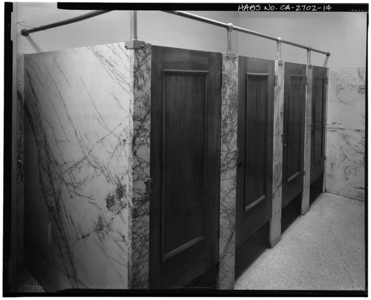 Men's toilet (room 115, representing room 117), looking north. - California State Office Building No. 1, 915 Capitol Mall, Sacramento, Sacramento County, CA HABS CAL,34-SAC,65-14