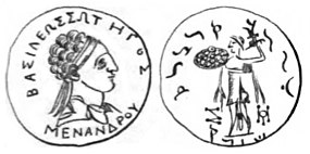 Menander coin collected by Charles Masson.jpg