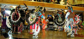 Pow wow - Men's traditional dancers, Montana, 2007