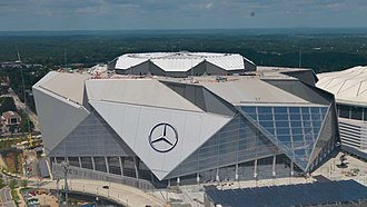 Mercedes-Benz Stadium - Near completion in August 2017