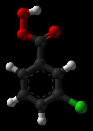 Meta-Chloroperoxybenzoic acid - Image: Meta chloroperbenzoic acid Spartan HF 6 31Gstar 3D balls