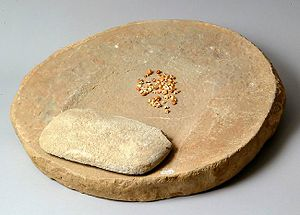 Metate - Metate, mano and corn, all circa 12th century AD,  from Chaco Canyon, USA