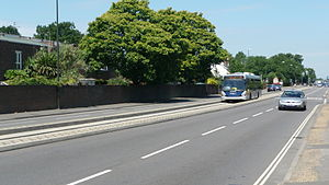 Fastway (bus rapid transit) - A stretch of guided Busway on the A23 London Road in Crawley. This leads up to the bus lane over the roundabout.