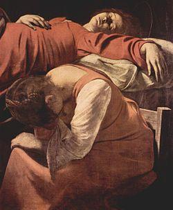 Death of the Virgin (detail). 1601 - 1606. Oil on canvas, 396 x 245 cm. Louvre, Paris.