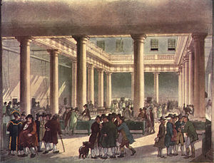 Market (economics) - Corn Exchange, in London circa 1809.