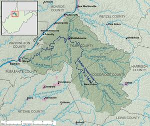 Middle Island Creek - Image: Middle Island Creek map
