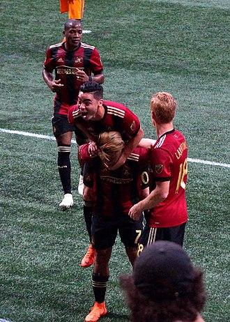 Miguel Almirón - Almirón celebrating a goal with Atlanta United on 2 June 2018